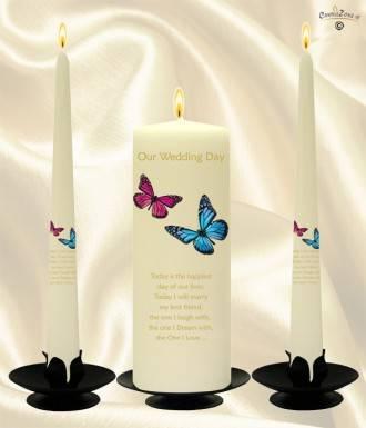 Pink Blue Butterflies Gold Wedding Candles Ivory 907700cz