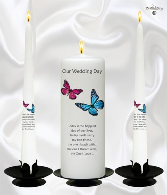 Pink Blue Butterflies Silver Wedding Candles White 907670cz