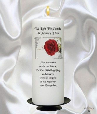 Red Rose Silver Wedding Remembrance Candle White 907939cz