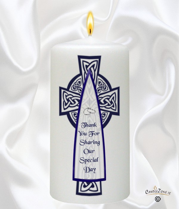 Celtic Cross Navy Silver Wedding Favour White