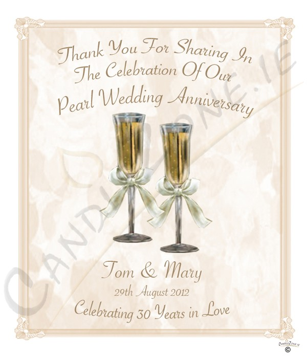30th Wedding Anniversary Gift Basket : CandleZone.ie30th Wedding Anniversary Favour- Champagne Glasses ...