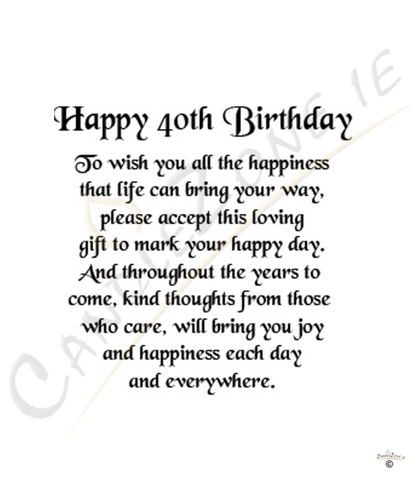 40th Birthday Verses For Daughter