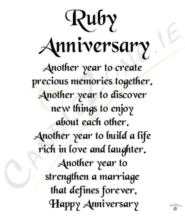 ... ruby wedding anniversary poems for husband ruby wedding anniversary