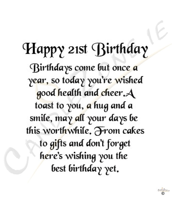 21st Birthday Wishes Quotes. QuotesGram