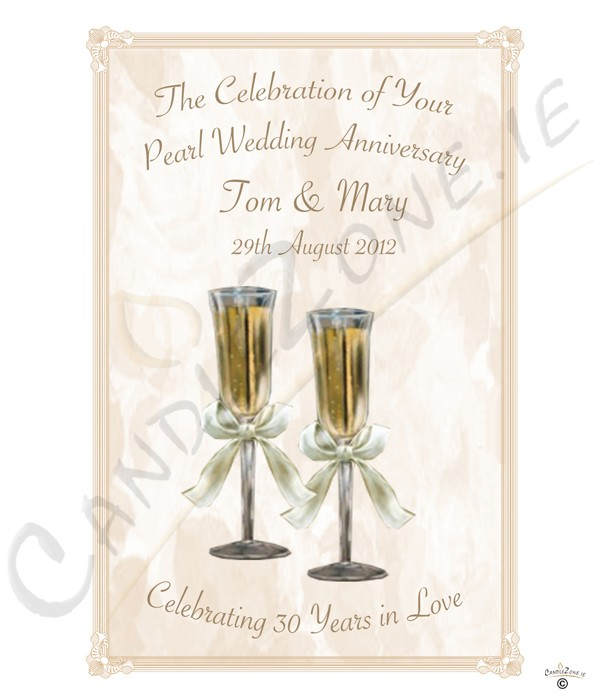 30th Wedding Anniversary Gift Basket : CandleZone.ie30th Wedding Anniversary CandleChampagne Glasses ...