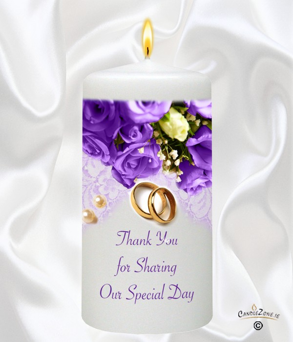 Pearl Ring Dark Purple Roses Gold Wedding Favour White