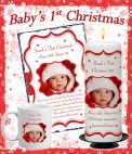 Personalised Babys 1st Christmas Candles
