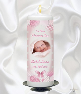 Dots & Ribbons Girl Photo Christening Candle (White)