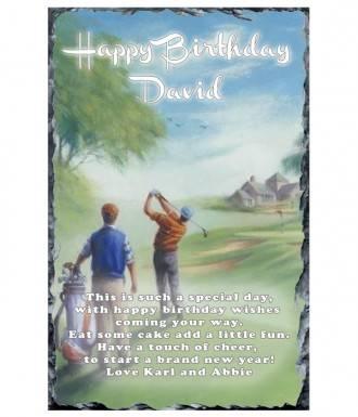 Happy Birthday Male Golf Slate