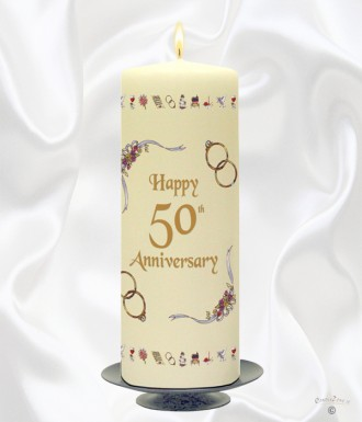 50th Wedding Anniversary Candle Ribbons