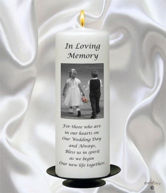 Young Love Black Script Wedding Memorial Candle (White)