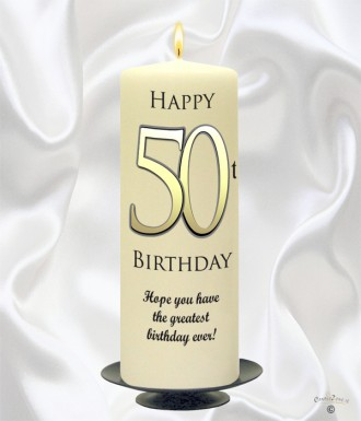 Personalised Birthday Candles 50th Delight Gold