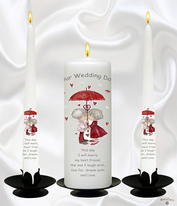 Umbrella of Love Silver Wedding Candles