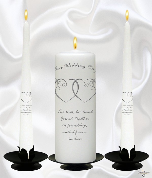 Entwined Hearts Silver Wedding Candles