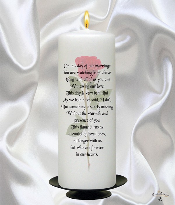 Single Rose Wedding Remembrance Candle (Ivory) - CandleZone.ie