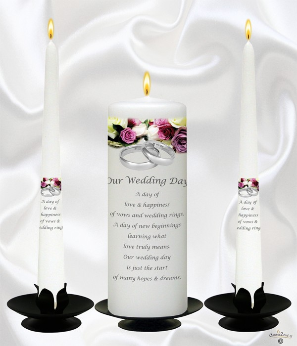Purple & Cream Roses Silver Wedding Candles