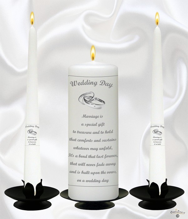 Marriage Is A Gift Silver Wedding Candles