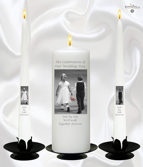 Young Love Black Script Wedding Candles