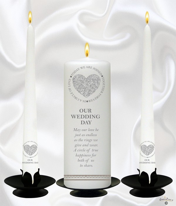 Circle of Love Sliver Wedding Candles