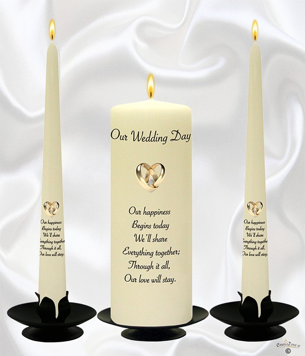 Rings Entwined Gold Wedding Candles