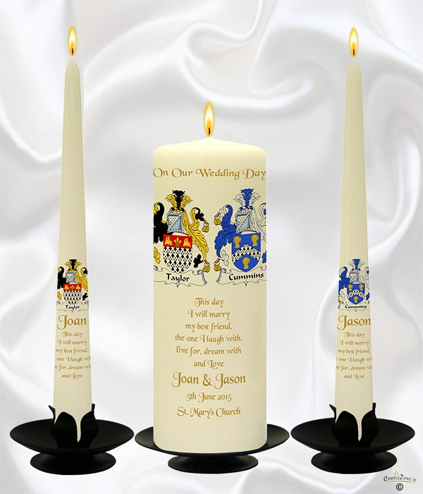 Family Crest Gold Wedding Candles