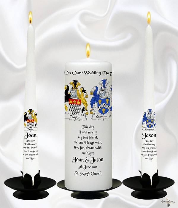 Crest Wedding Candles Black on White