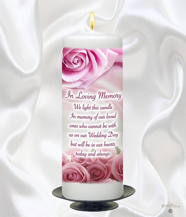 Pink Roses Rings Wedding Remembrance Candle