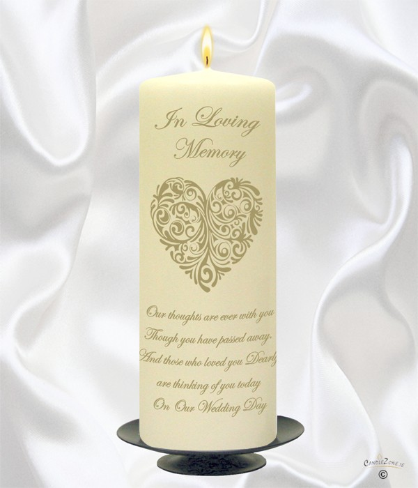 Vintage Heart Gold Wedding Remembrance Candle