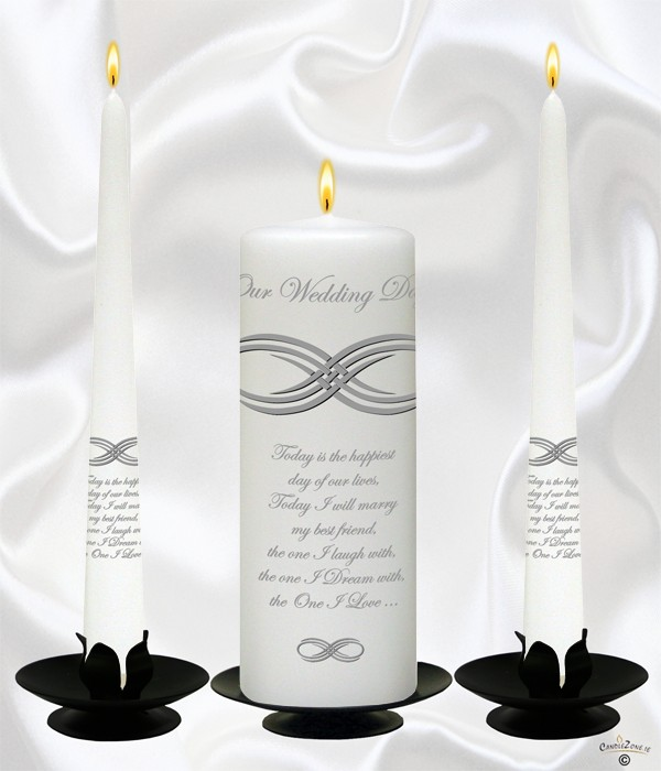 Infinity Knot Silver Wedding Candles