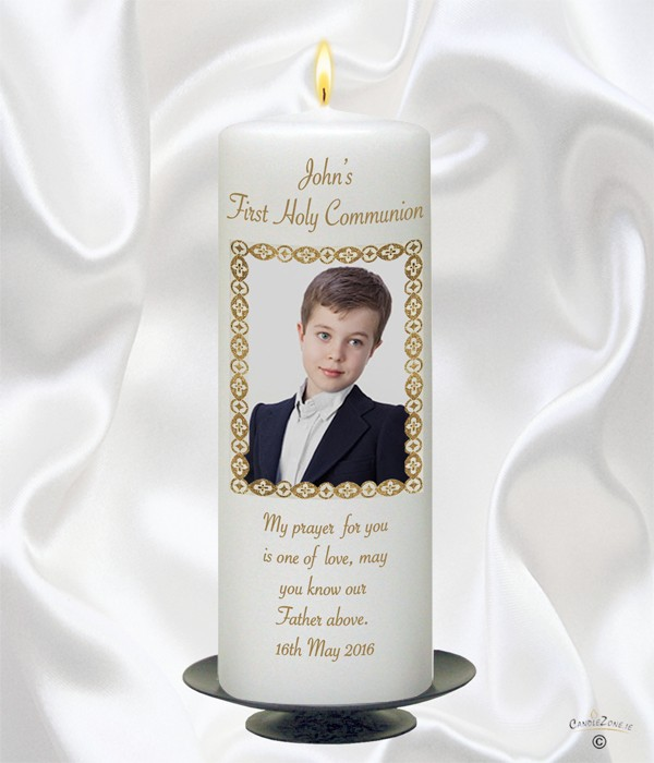 1st Holy Communion Photo Boy Candle