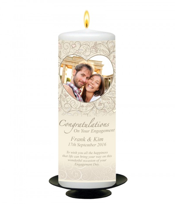 Engagement Love Heart and Photo Candle