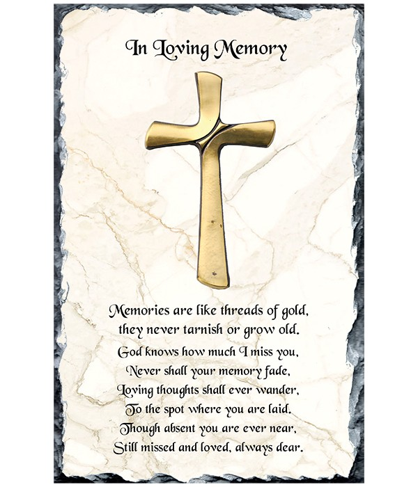 Remembrance Slate Gold Cross