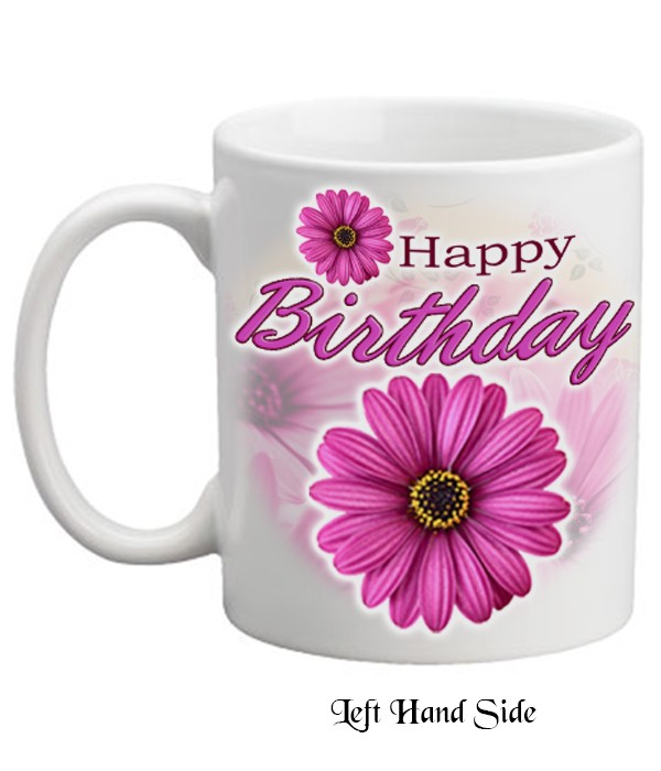 Happy Birthday Pink Gerbera Mug