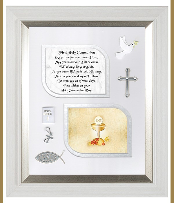 1st Holy Communion, Cross & Flowers Verse & Photo Forever Frame