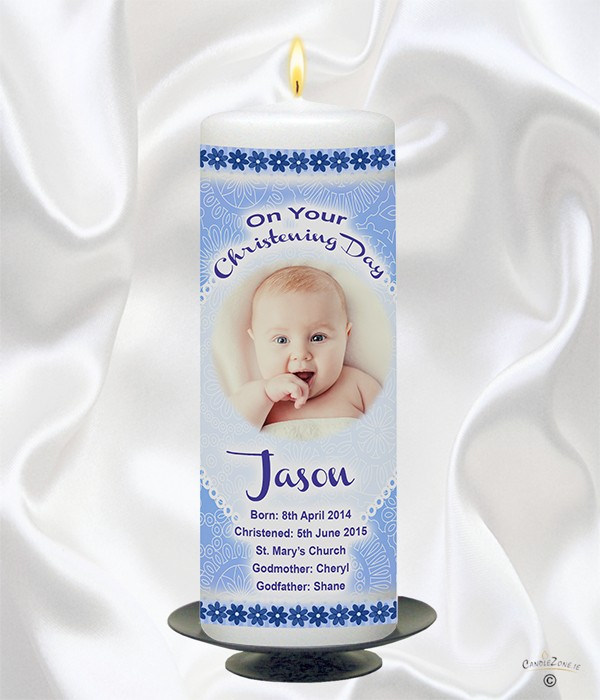 Cuddles Blue Christening Candle (With Photo)