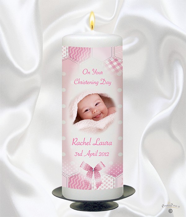 Dots & Ribbons Girl Photo Christening Candle