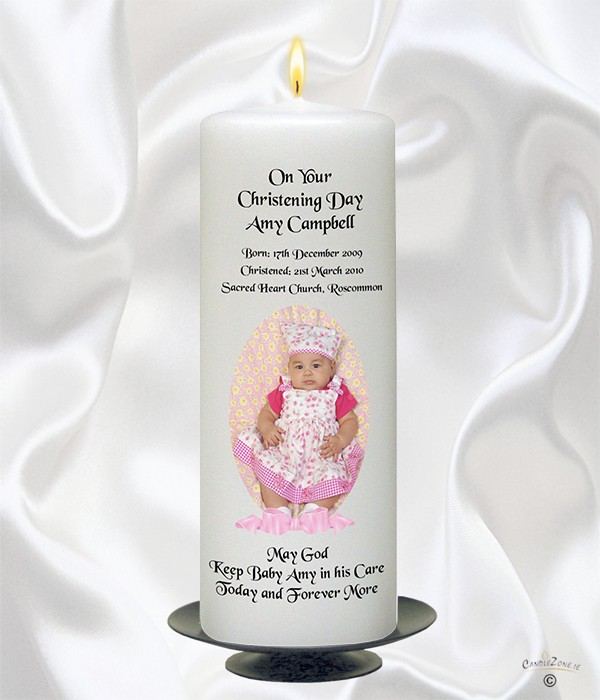 Ribbon Photo Girl Christening Candle