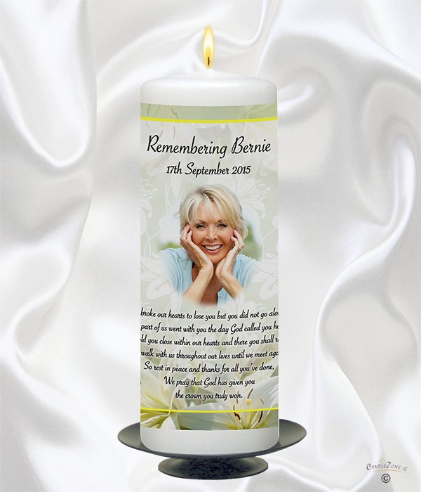 Lily & Photo Remembrance Candle