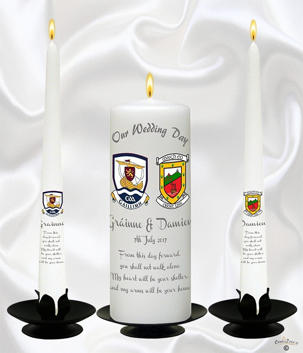 County Crests Silver Wedding Candles