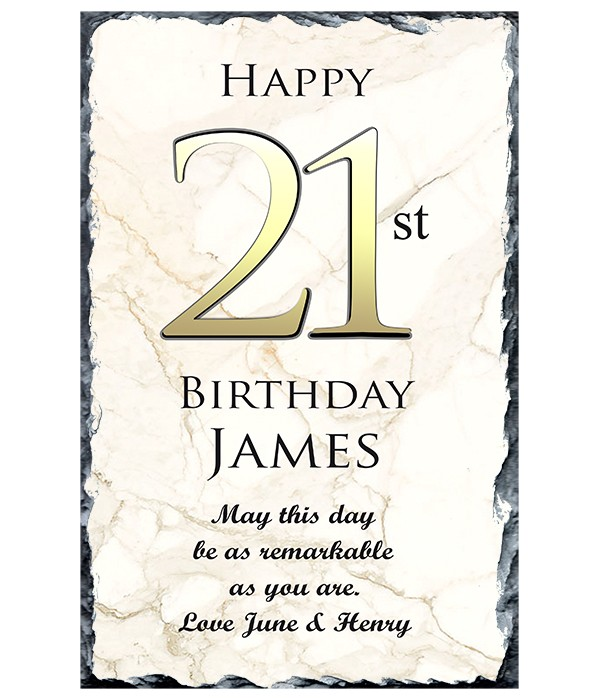 21st Birthday Delight Gold Slate