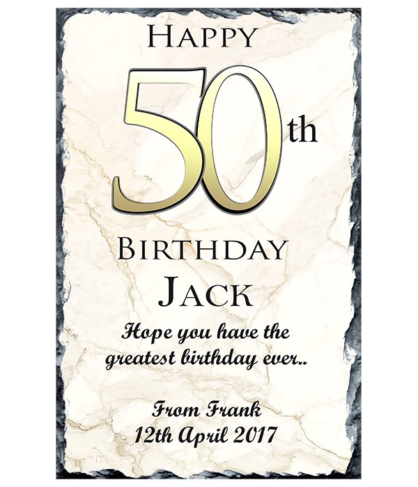 50th Birthday Delight Gold Slate