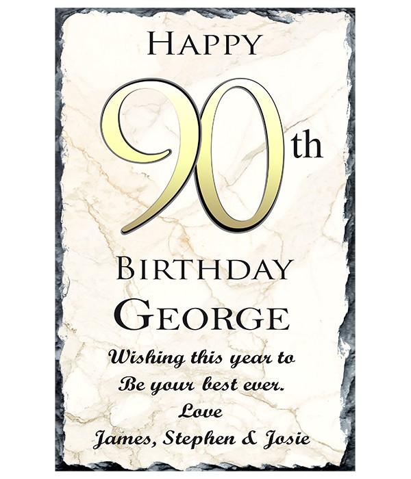 90th Birthday Delight Gold Slate