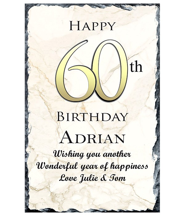 60th Birthday Delight Gold Slate