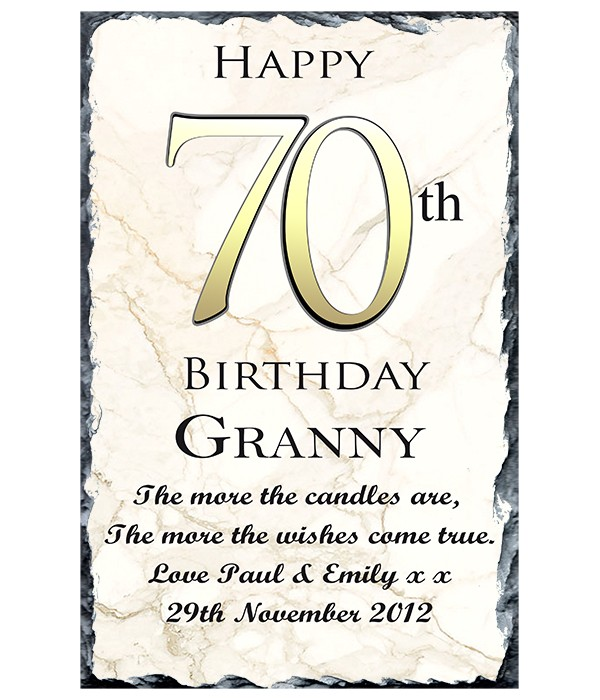 70th Birthday Delight Gold Slate