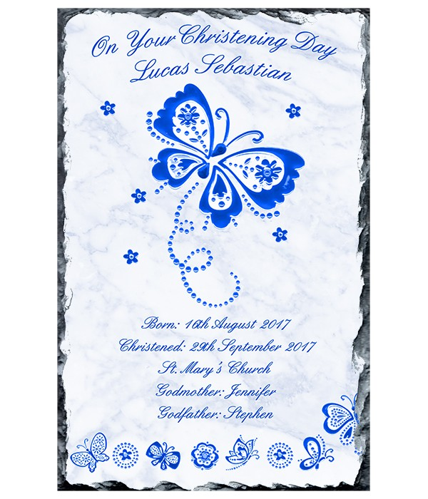 Diamante & Butterfly Blue Christening Slate