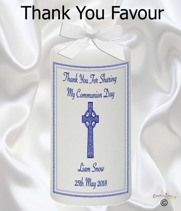 Thank You Communion Blue Celtic Cross Favour Candle