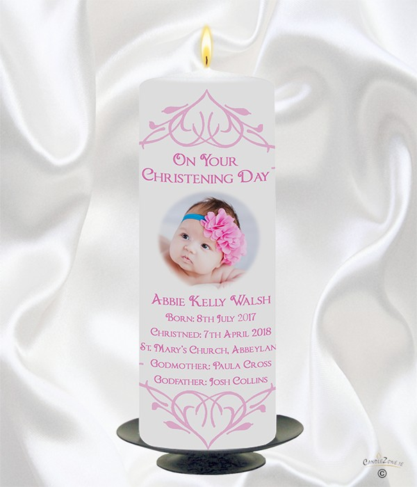 Heart Border & Photo Girl Christening Candle