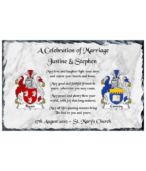 Marriage Crests & Verse Silver Wedding Slate