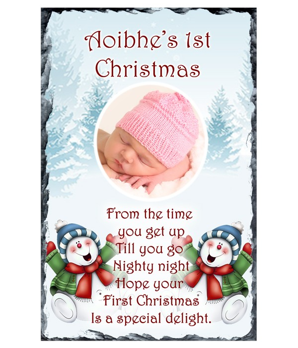 Baby's First Christmas - Blue Snowflakes, Snowman Photo Slate