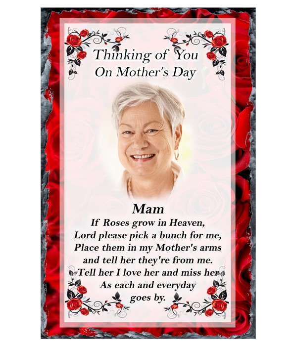 Red Rose In Heaven Photo - Mothers Day Remembrance Slate